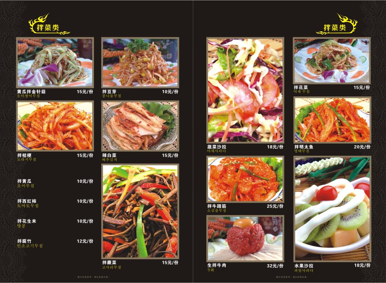 13菜谱册韩国料理 炭火烧烤 韩国菜谱 烧烤店菜单